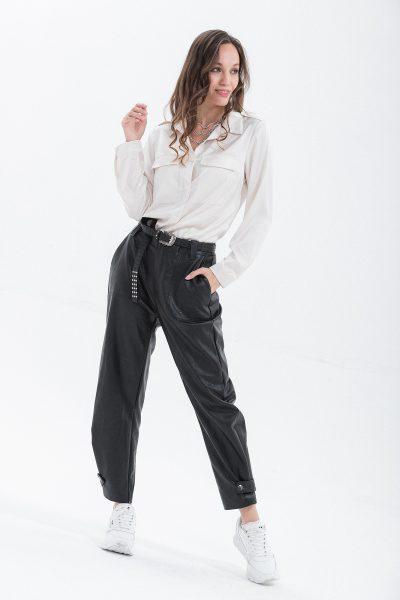camicia raso con tasche