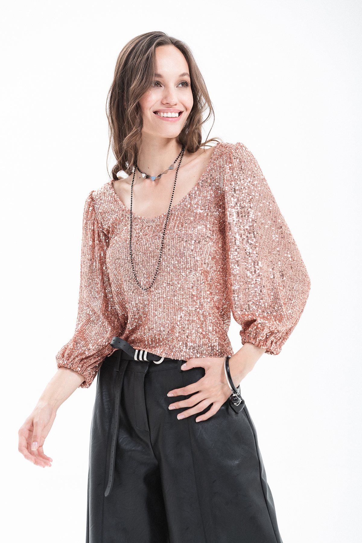 top paillettes manica 3/4