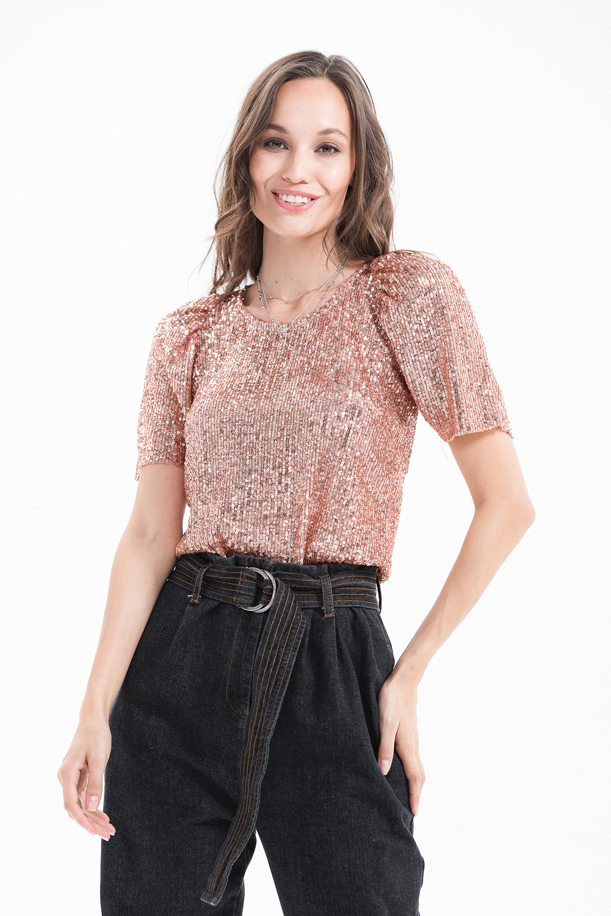 top cropped paillettes