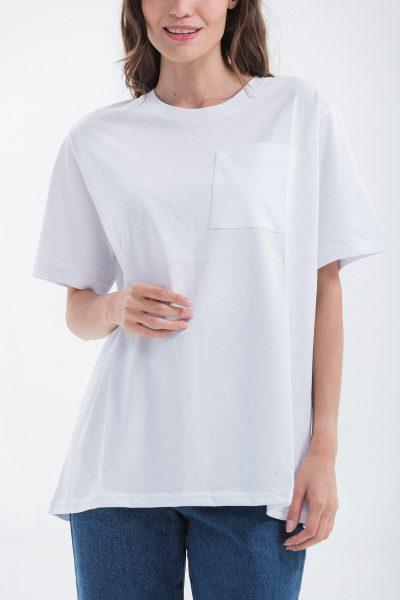 t-shirt girocollo con taschino