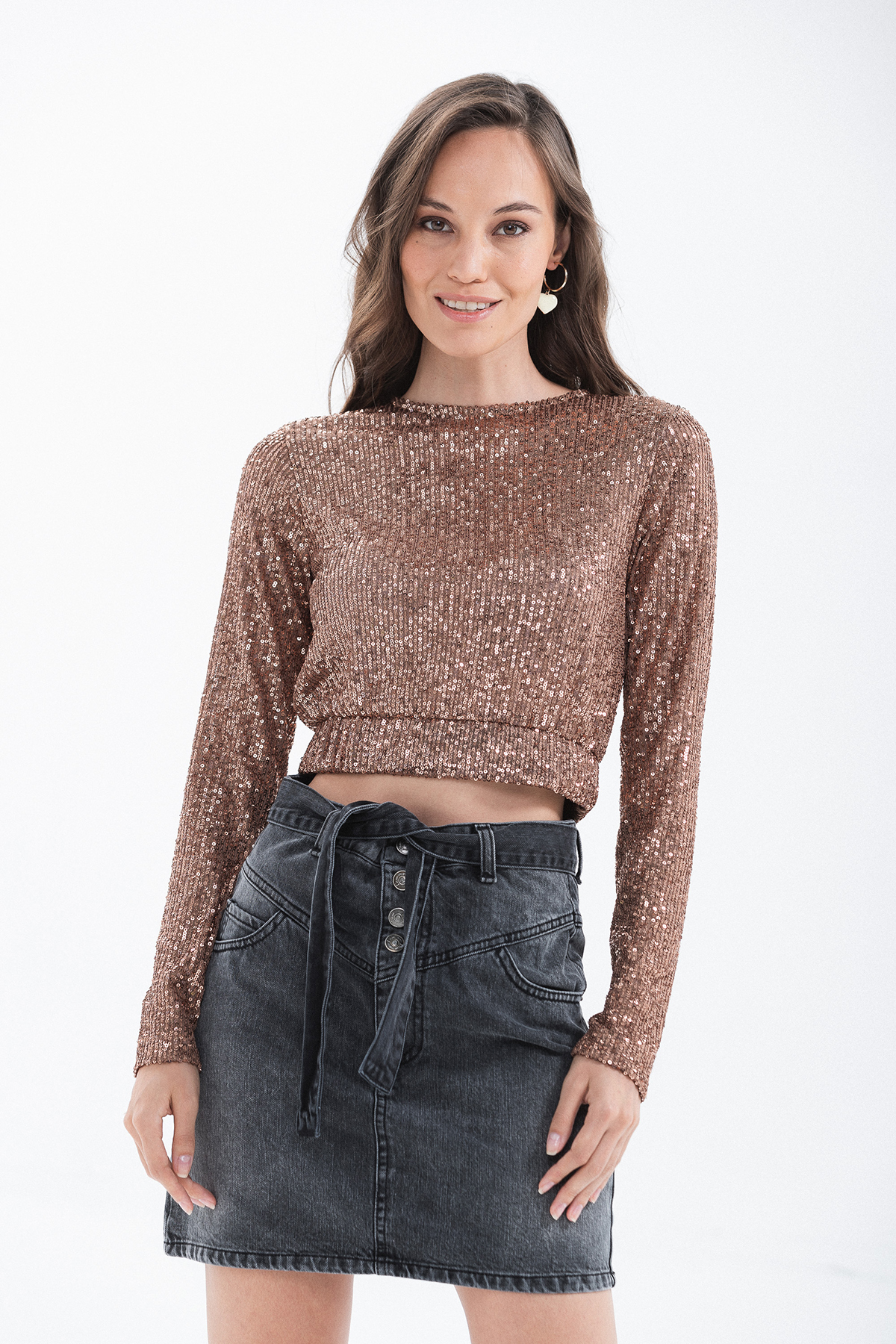 crop top paillettes