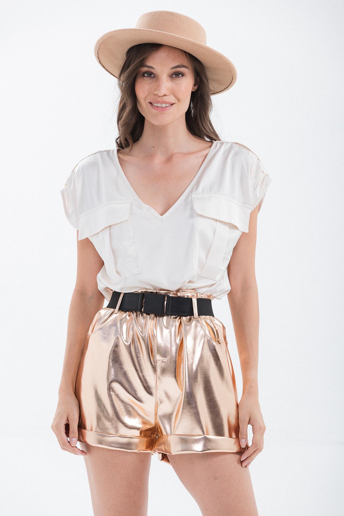 blusa raso con tasche