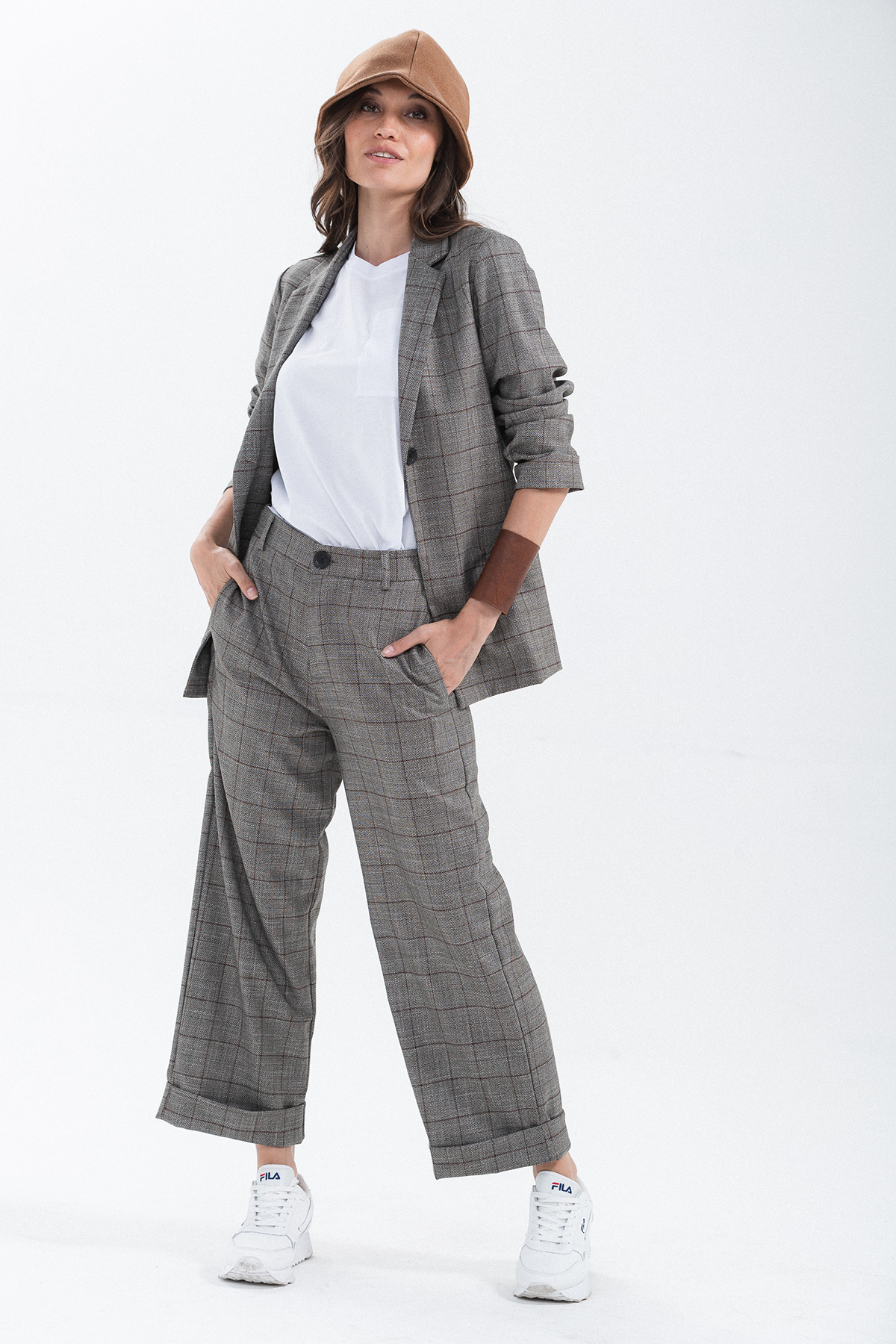 pantalone dritto check